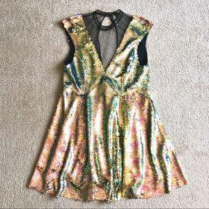 Free People Dance Til Dawn sequin metallic dress